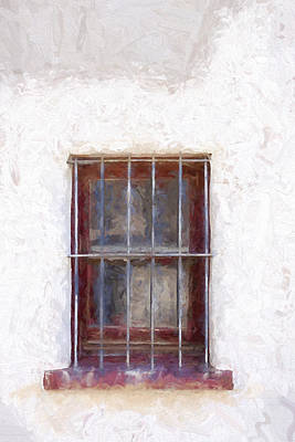 Detail Mixed Media - Tucson Barrio Window Painterly Effect by Carol Leigh