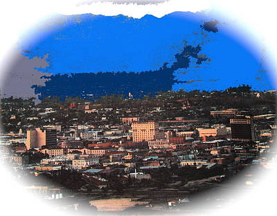 Tucson From A Mountain Ray Manley 1957-2013 Print by David Lee Guss