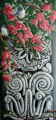 Bougainvilla Painting - Tufted Titmice At Maitland Art Center by Pamela Fleming
