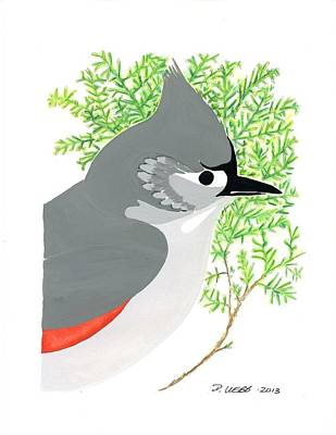 Titmouse Painting - Tufted Titmouse by Derick Webb