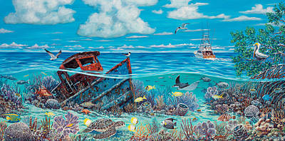 Green Sea Turtle Painting - Tug Boat Reef by Danielle  Perry