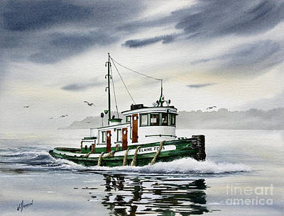 Tugboat Elaine Foss Print by James Williamson