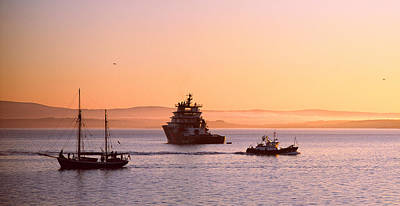 Trawler Photograph - Tugboat With A Trawler And A Tall Ship by Panoramic Images