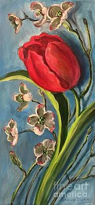Spring Bulbs Painting - Tulip And Dogwoods by Randol Burns