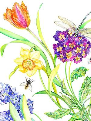 Tulips Drawing - Tulip And Dragonfly by Kimberly McSparran