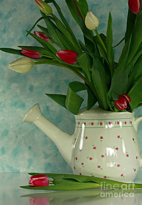 Tulip Bouquet In Watering Can Print by Inspired Nature Photography Fine Art Photography