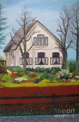 Garden Scene Painting - Tulip Cottage by Martin Howard