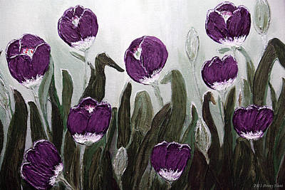 Tulip Festival Painting - Tulip Festival Art Print Purple Tulips From Original Abstract By Penny Hunt by Penny Hunt