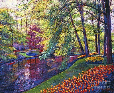 Bed Painting - Tulip Park by David Lloyd Glover
