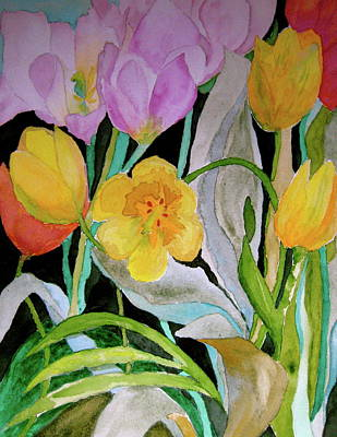 Spring Bulbs Painting - Tulip Party by Beverley Harper Tinsley