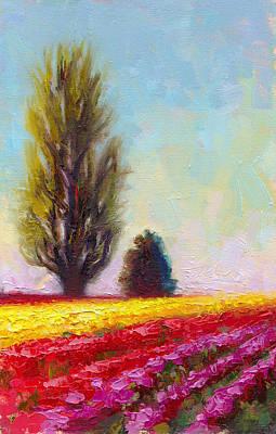 Tulip Festival Painting - Tulip Sentinels by Talya Johnson