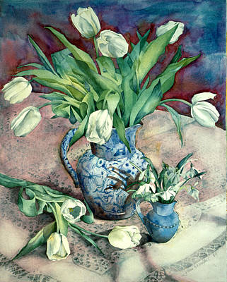 Tulips And Snowdrops Print by Julia Rowntree