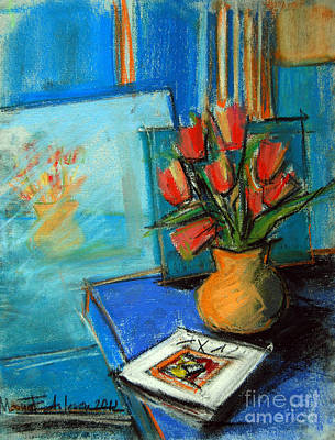 Complementary Painting - Tulips In The Mirror by Mona Edulesco