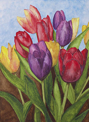 Spring Bulbs Painting - Tulips by Julie Myers