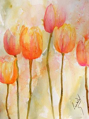 Watercolor Painting - Tulips by Lucia Del