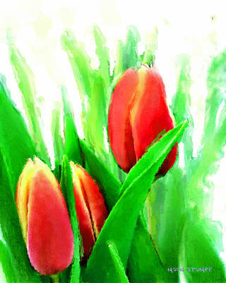 Spring Landscape Mixed Media - Tulips by Moon Stumpp