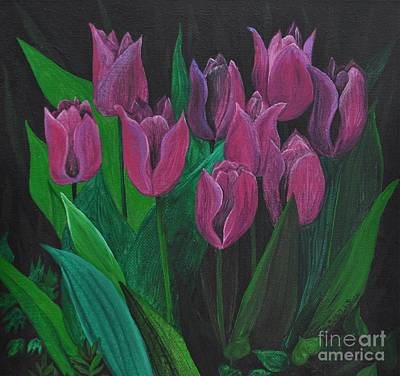Spring Bulbs Painting - Tulips by Sally Rice