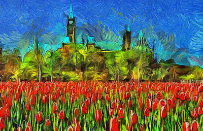 Tulips Van Gogh On Parliament Hill Print by Mario Carini