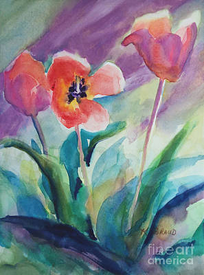 With Texture Painting - Tulips With Lavender by Kathy Braud