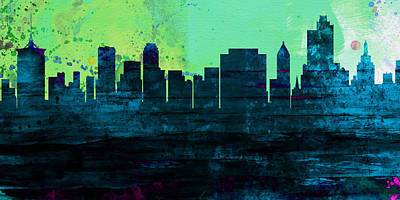 Architectural Painting - Tulsa City Skyline by Naxart Studio