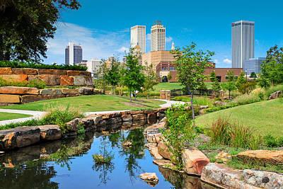 Tulsa Photograph - Tulsa Oklahoma Skyline View From Central Centennial Park by Gregory Ballos