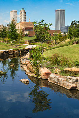 Cities Photograph - Tulsa Skyline And River  by Gregory Ballos