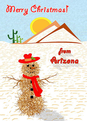 Digital Painting - Tumbleweed Snowman Christmas Card by Methune Hively