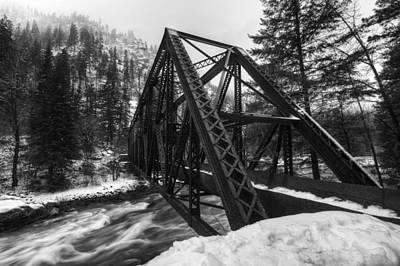 Unspoiled Art Photograph - Tumwater Bridge In Winter by Mark Kiver