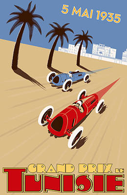 Icon Reproductions Digital Art - Tunisia Grand Prix 1935 by Georgia Fowler