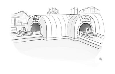Tunnel Of Love Ride Intersects With A Tunnel Print by Paul Noth