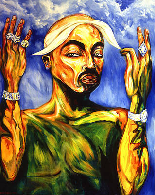 Rapper Painting - Tupac by Cardell Walker