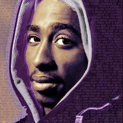 Tupac Shakur And Lyrics No Signature Print by Tony Rubino