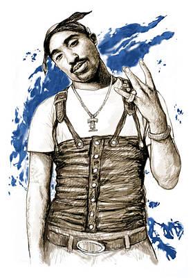Charcoal Mixed Media - Tupac Shakur Colour Drawing Art Poster by Kim Wang