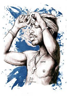 Tupac Painting - Tupac Shakur Morden Art Drawing Poster by Kim Wang