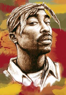 September Drawing - Tupac Shakur Stylised Drawing Art Poster by Kim Wang