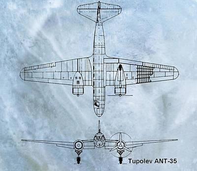 Ant Mixed Media - Tupolev Ant-35 Blueprint by Dan Sproul