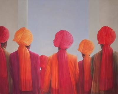 Gathering Photograph - Turban Group, 2012 Acrylic On Canvas by Lincoln Seligman