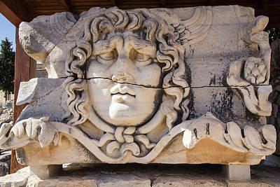 Turkey, Carved Head Of Medusa Print by Emily Wilson