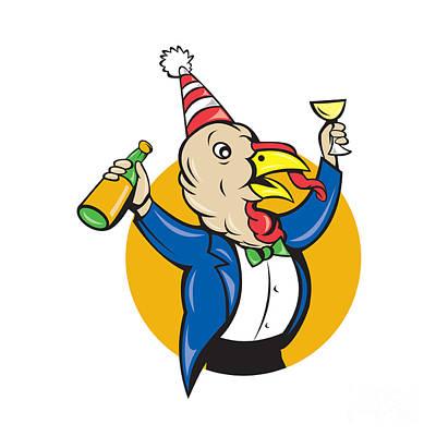 Turkey Celebrating Wine Party Hat Cartoon Print by Aloysius Patrimonio