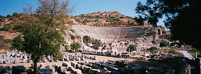 Outdoor Theater Photograph - Turkey, Ephesus, Main Theater Ruins by Panoramic Images