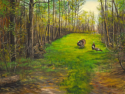 Logging Painting - Turkey Hunt With Grandpaw At The Gas Line by Alvin Hepler