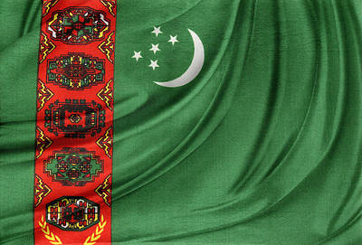 Realistic Photograph - Turkmenistan Flag by Les Cunliffe