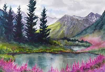 Landscape Painting - Turnagain Pass Fireweed by Karen Mattson
