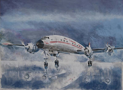 Airliners Painting - Turning On A Wet Runway by Art Cox