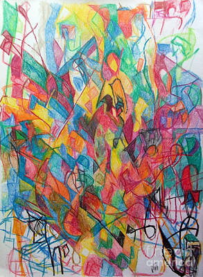 Creativity Drawing - Turning To See Waiting To Hear by David Baruch Wolk