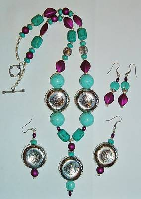 Turquoise And Purple 2pc Set Original by Sharon Leigh