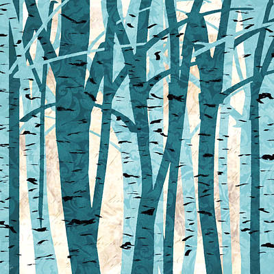 Triptych Painting - Turquoise Birch Trees by Lourry Legarde