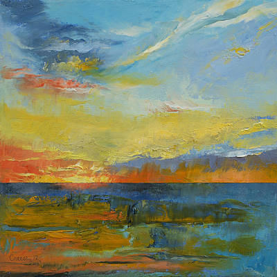 Abstract Seascape Painting - Turquoise Blue Sunset by Michael Creese