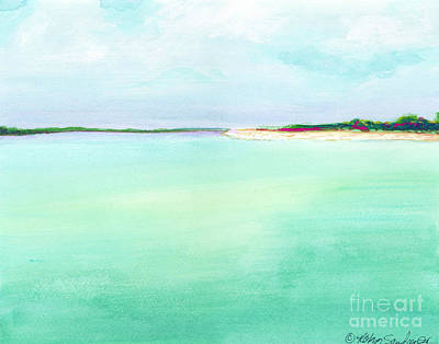 Turquoise Caribbean Beach Horizontal Original by Robyn Saunders