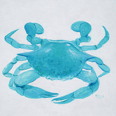 Beach Theme Decorating Painting - Turquoise Crab by Jan Matson